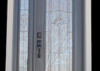 Porte d'acier double fenêtre